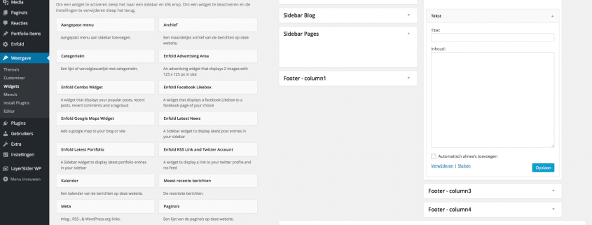Widgets Footer Zijbalk Wordpress